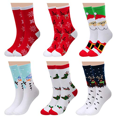 6 Pairs Cute Cotton Casual Christmas Socks - Autumn Winter Funny Crew Novelty Xmas Gifts Socks for Unisex Teens