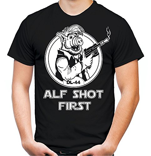 Alf Shot First T-Shirt | Alien | Legend | Männer | Herren | Science | Fiction | ET | Film | Funshirt | Kult (L, Schwarz)