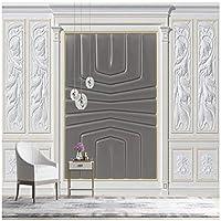 3Dの壁紙写真壁紙 石膏刻まれた革のパターン カスタム壁画 リビングルームテレビソファの家の装飾 -280x200cm/110x79inch