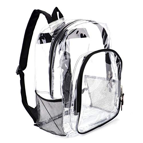 """Heavy Duty Clear Backpack Transparent See Through Plastic Backpacks for School (16""""L, Cool Camouflage)"""