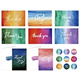 Whaline 32Pack Water Printing Greeting Cards Kit ColorfulThank You Greeting Cards in 8 Designs with Envelopes and Adhesive Stickers Note Card for Kids Classroom Exchange