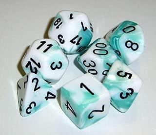 Chessex Dice: Polyhedral 7-Die Gemini Dice Set - Teal & White w/Black CHX-26444