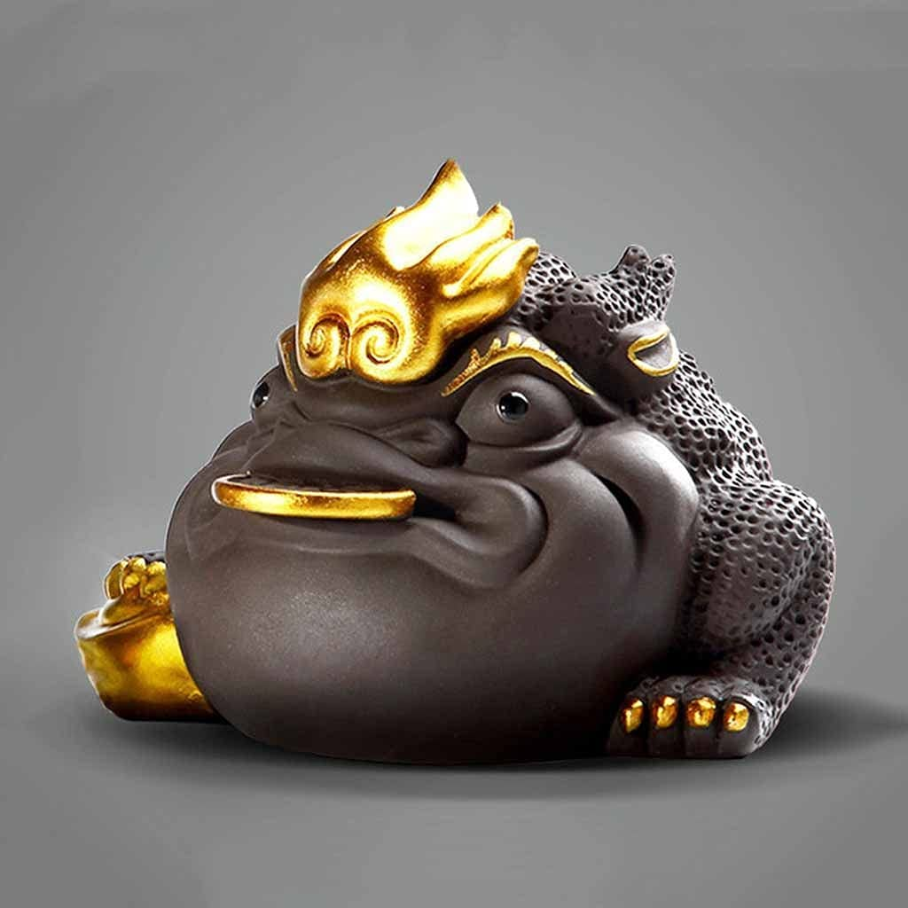JJSPP 1 PCS Boutique Purple Clay Tea pet Lucky Golden Toad Statu