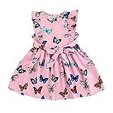 Vestido de verano sin mangas con estampado de mariposas o flores, cuello redondo y falda plisada con lazo en la cintura. rosa 6-7 Años