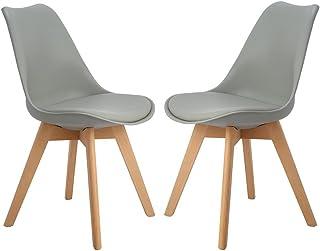 DORAFAIR 2er Skandinavischen Retro Design Gepolsterter lStuhl Kunststoff PP Esszimmerstühle,mit Massivholz Buche Bein,Grau