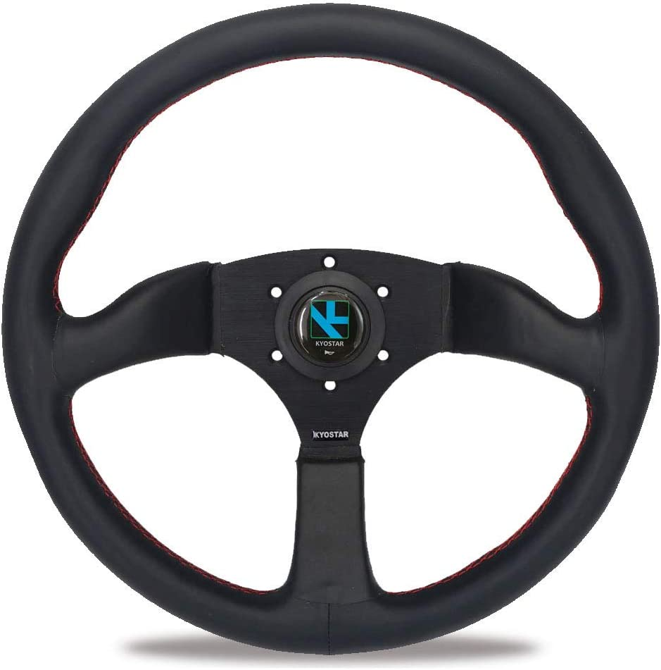 Yorking Deep Dish Steering Wheel Pvc Leather Compatible With Most Hub Adapters Black 350Mm