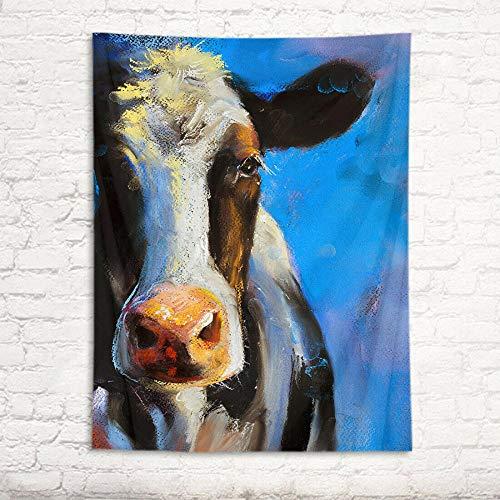 AdoDecor Tapiz Acuarela Retrato de Vaca Tapiz Nueva habitación Arte de Pared tapices Colgantes decoración del hogar 150x130cm/59 * 51 Pulgadas