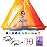 SAIVEN Aerial Silks-Aerial Yoga Hammock with Deluxe Yoga Swing Set for Yoga Trapeze, Flying Yoga, Aerial Dance(L:5m x W:2.8m) (Gradient Red)