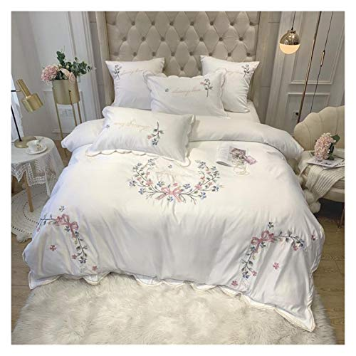ZJXYYYzj Sheets Set, Pink Flower Embroidery 60S Bow-knot Princess Bedding Set King Queen Silk/Cotton Duvet Cover Fitted Sheet Pillowcases 4pcs (Color : A, Size : Flat Bed Sheet)