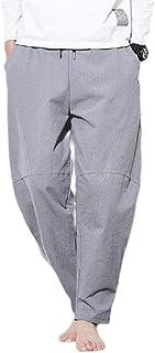 neveraway Men Oversized Cotton Casual Loose Mid Waist Beach Joggers Pants