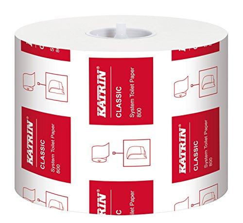 Katrin 156005 Classic System toiletpapier, 2 laags, wit, 100% vergine vezel, voor gebruik met Katrin Inclusive System Toilet Dispenser, 800 vellen per roll, 36 rollen per koffer