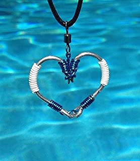 The ORIGINAL FISH HOOK HEART Necklace - Blue and White Wire on Silver Hooks