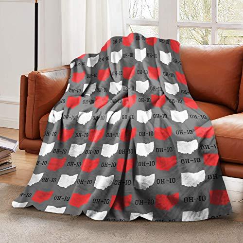 LELEMATE Ultraweiche Flanelldecke New Ohio State Grau Überwurf Decken Warm Flauschige Plüsch Decke für Jungen Mädchen Bett Kinderbett Couch Stuhl Wohnzimmer Zuhause Reisen 127 x 101 cm Kinder Baby