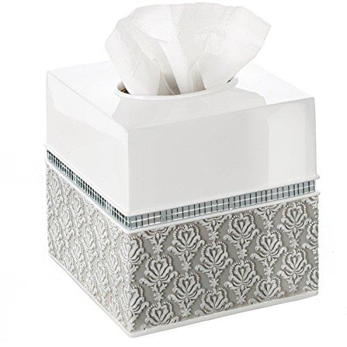 Creative Scents Mirror Damask Square Tissue Box Cover - Decorative Bathroom Tissues Paper Holder, Modern Napkins Container, Bottom Slider, for Cute Elegant Bathroom Decor (White & Gray)