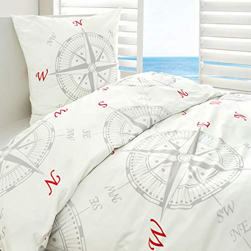 Traumschlaf Mako-Satin Bettwäsche Kompass 1 Bettbezug 135 x 200 cm + 1 Kissenbezug 80 x 80 cm