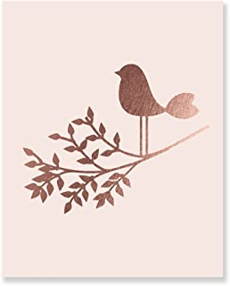 Bird on a Branch Pink and Rose Gold Foil Art Print Baby Bird Decor Nursery Poster Girl's Room Modern Nature Decor 8 inches x 10 inches A30