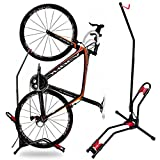 JAPUSOON Bike Stand Vertical Bike Rack,Upright Bicycle Floor Stand,Free Standing Adjustable Bike Garage Rack for Indoor Mountain/ Road Bike Storage,Saving Space-No Damage Wall,Fits Most 20''-27'' Bike