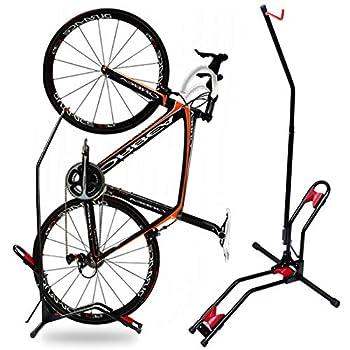 JAPUSOON Bike Stand Vertical Bike Rack,Upright Bicycle Floor Stand,Free Standing Adjustable Bike Garage Rack for Indoor Mountain/ Road Bike Storage,Saving Space-No Damage Wall,Fits Most 20  -27   Bike