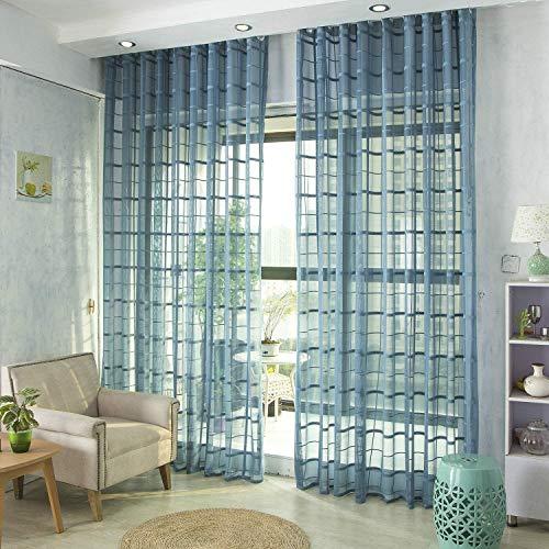 Voile gordijnen Jacquard Clear met oogjes Gordijnen eenvoudig en modern stijl zachte ademend Slaapkamer transparant gordijn voor grote ramen 1 stuk,Blue,150X230cm