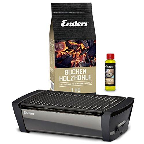 Enders Aurora – Tischgrill Starter-Set, Raucharmer Outdoor Grilltisch mit Holzkohle und Anzündpaste, Mobiler Holzkohle Grill mit Gussrost, rauchfrei, für Picknick, Camping und Balkon, Grillzubehör