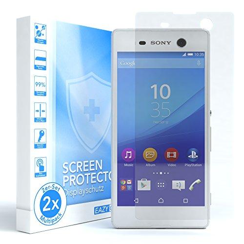 EAZY CASE 2X Panzerglas Bildschirmschutz 9H Festigkeit für Sony Xperia M5, nur 0,3 mm dick I Schutzglas aus gehärteter 2,5D Panzerglasfolie, Bildschirmschutzglas, Transparent/Kristallklar