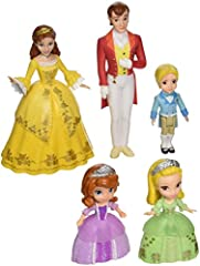 The dolls have brand new fashions that include glittery accents and true to character features Ages 3 & Up Meet the Royal Family from Disney Junior's Sofia the First; This doll set includes the enitre family: Princess Sofia, Princess Amber, Prince Ja...