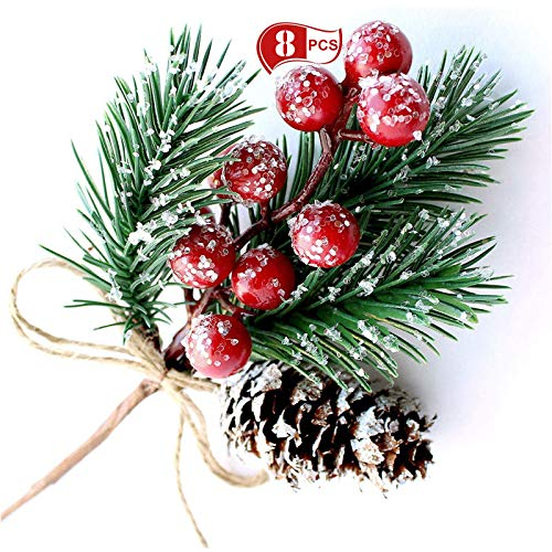 8 Coni di pino bacche rosso di Natale fai-da-te, piccoli punti spray rami sempreverdi di pino artificiali per la decorazione, ghirlande natalizie, decorazioni sfuse, decorazioni per matrimoni