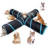 beststar 4 Way Cat Tunnel, Large indoor outdoor Collapsible Pet Toy Crinkle Tunnel Tube with Storage Bag for Cat, Dog, Puppy, Kitty, Kitten, Rabbit