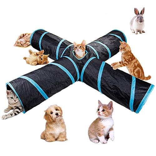 beststar Túnel para gatos de 4 vías, gran interior y exterior, plegable,...