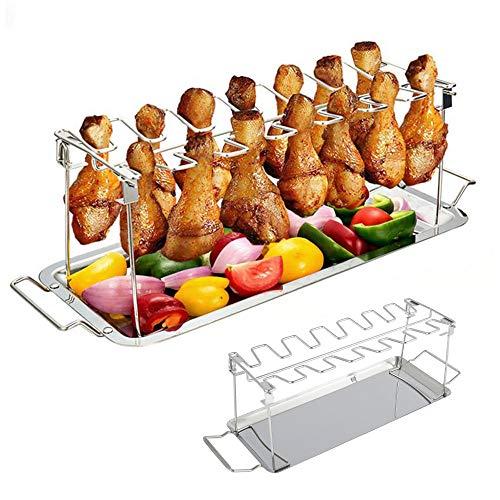 Hands DIY Hähnchenschenkelhalter Ständer Gestell Set für Grill oder Backofen inkl. Auffangschale Edelstahl Geflügelhalter für 14 Schenkel Robust und Hochwertig