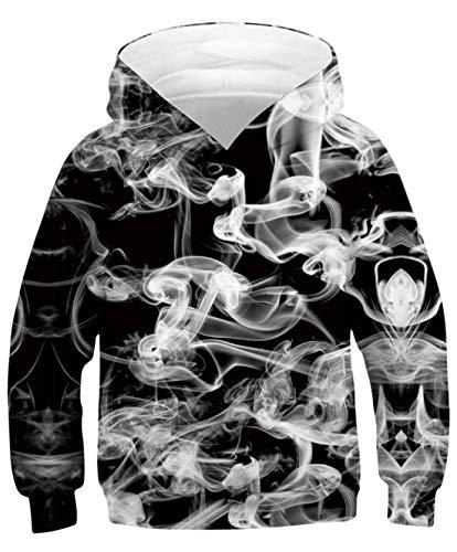 Goodstoworld Unisex 3D Rauch Schwarzer Druck Hoodies Kapuzenpullover Lustige Sweatshirt Pullover Freizeit Kapuzenpullis Jungen Mädchen XL