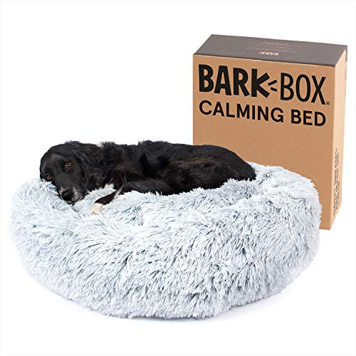 Barkbox 2-in-1 Memory Foam Donut Cuddler Dog Bed | Orthopedic Joint Relief Fur Crate Lounger for Dogs and Cats, Machine Washable + Removable Cover | Waterproof Lining | Includes Toy (Large, Grey)