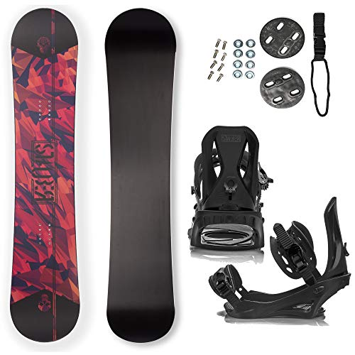 STAUBER Matte Summit Snowboard & Binding Package Sizes 128, 133, 138, 143, 148,153,158, 161- Best All Terrain, Twin Directional, Hybrid Profile - Adjustable Bindings - Designed for All Levels 161