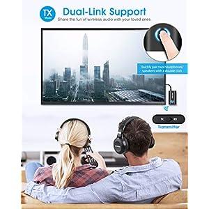 ELEGIANT-Transmisor-Bluetooth-50-Adaptador-2-en-1-para-TV-Coche-Jack-35-mm-Receptor-Audio-Msica-Baja-Latencia-en-Modo-RX-TX-Conexin-multipunto-para-Altavoz-MP3MP4-DVD-Sistema-Estreo-etc