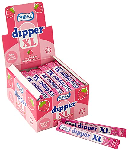 Vidal Dipper Xl Fresa Caramelo Masticable Sin Gluten - 100 unidades