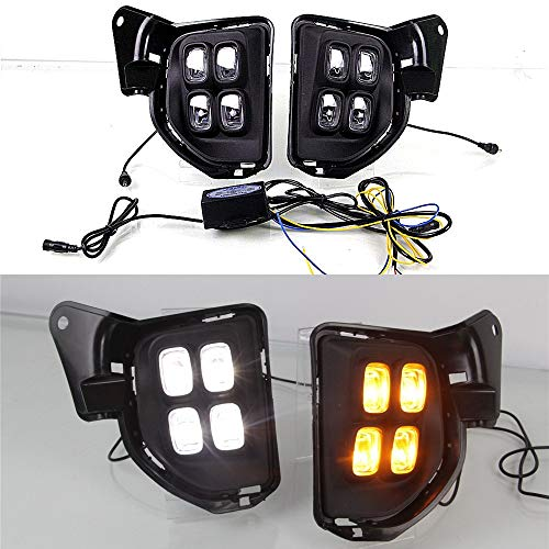 Juillet King LED Daytime Running Lights DRL DRL-T-Haice-2014-I pour Hiace 2014 2015 2016 2017 2018, 6000K 4LEDs 12W Feu antibrouillard à LED + Lumière de signalisation jaune