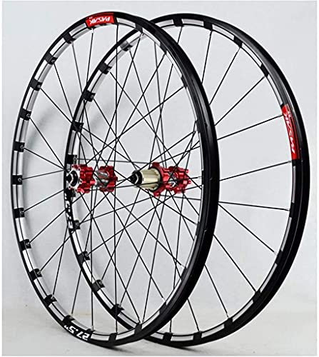 VTDOUQ Mountain bike wheel set 26/27.5-inch CNC double-wall light alloy rim MTB bicycle wheels cassette hub QR disc brake 24-hole 7-11 speed