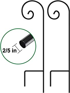 Set of 2 Garden Shepherd Hooks 35in tall Poles and Hangers for Outdoor Wedding Décor Outside Metal Plants Hanger Stand Pathway Hanging Basket Solar Light Lantern Wind Chimes 2/5in