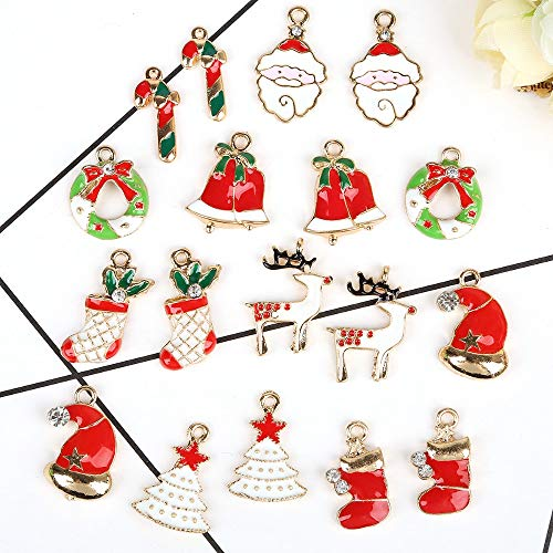 N/A 5 Pieces/Hand Multi-Style Mixed Enamel Christmas Design Charm Pendant Necklace Jewelry Diy 12x21mm