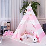 FOUR CLOVER Kids Teepee Children Play Tent Playhouse Classic Indian Style Decoration 100% Cotton with Carry Case for Indoor Outdoor, Pink Stripe