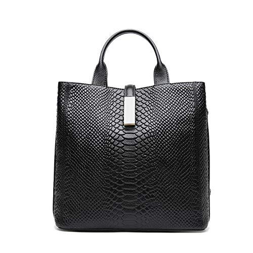 Valin Bolso de mano de mujer de piel, informal, estampado de cocodrilo, suave, bolso de la compra, bandolera con correa, 30 x 14 x 27 cm, color Negro, talla One size