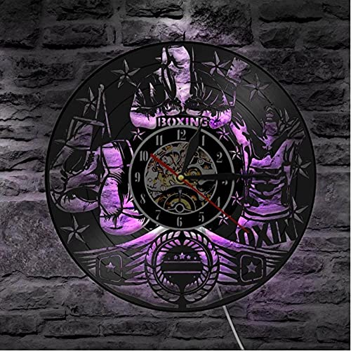 Reloj de pared con disco de vinilo de lucha de boxeo, tema deportivo, decoración artística de pared para gimnasio, reloj, guantes de boxeador, decoración del hogar a la moda, retrato de luchador