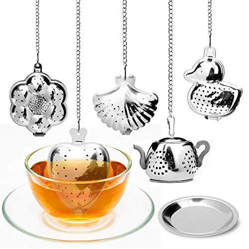ASANMU Teesieb für Tasse, 5 Stück Teesieb mit Kette, Teekugel Edelstahl Tee Rostfreier, Teesieb Edelstahl Teefilter für Losen Tee, Premium Teesieb Teefilter Tee-Ei für Teekanne Tee-Tassen Tee-Schalen
