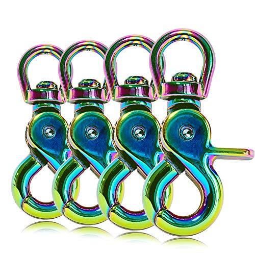 Ganzoo Scheren-Karabiner Haken mit Dreh-Gelenk/Dreh-Kopf für Hunde-Leine/Hals-Band 4er Set, legierter Stahl 61 mm Länge, auch für Paracord 550 / Schlüssel-Anhänger, Farbe: Regenbogen