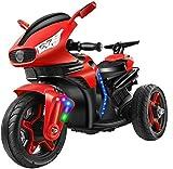 QqHAO Motocicleta eléctrica para niños Batería Recargable y Pedal Coche de Juguete Triciclo eléctrico para niños Adecuado para Montar en el jardín Rojo-Rojo