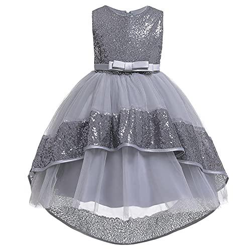 WTFYSYN Vestido de Novia de Flores Vestido Formal Elegante,Vestido de Lentejuelas para niños, Servicio de Rendimiento de Piano sin Mangas-Gris_150 cm