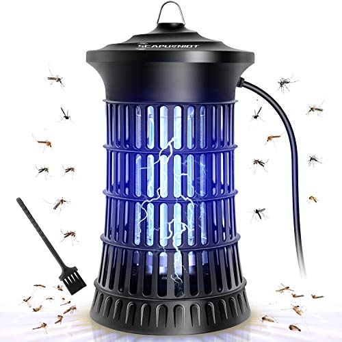 Bug Zapper Electric Mosquito Zappers Insect Killer Trap Mosquito Lamp 18W Light Bulb 4250V Insect Zappers with Brush Fly Trap for Indoor Outdoor Waterproof