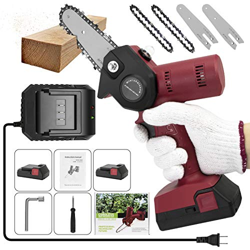 Upgrade Mini Chainsaw 4 Inch Cordless Electric Hand Chain Saw with Higher Power Motor and Pruning Shears Chainsaw for Tree Branch Wood Cutting - Red 680w(2 Batteries 2 Guide Bars and 2 Chains)