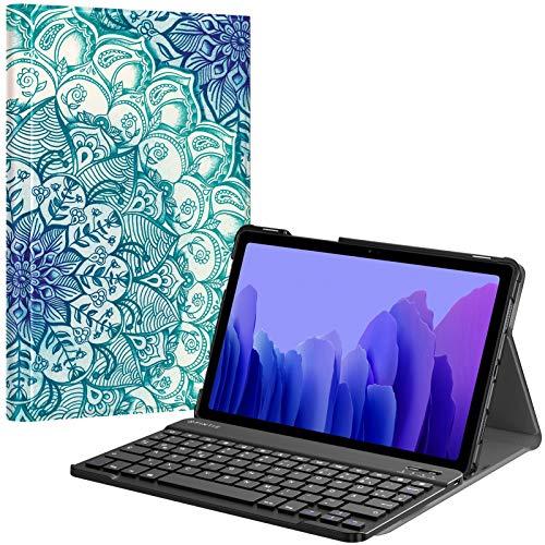 Fintie Tastatur Hülle für Samsung Galaxy Tab A7 10.4'' 2020 (SM-T500/T505/T507), Ultradünn leicht Schutzhülle mit magnetisch Abnehmbarer drahtloser Deutscher QWERTZ Bluetooth Tastatur, smaragdblau