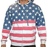 Licensed Mart Unisex Proud American Flag Zip Up Hoodie Sweatshirt 4022 Red/White/Blue XL